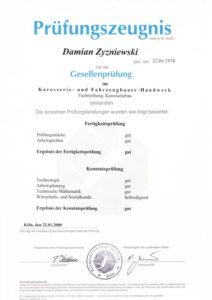 Gesellenprüfung Damian Zyzniewski