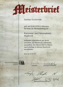 Meisterbrief Damian Zyzniewski