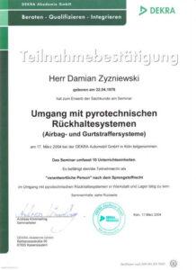 Zertifikat Umgang mit pyrotechnischen Rückhaltesystemen Damian Zyzniewski