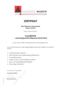 Wuerth Zertifikat Smart Repair Damian Zyzniewski