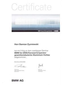 Zertifikat BMW Damian Zyzniewski