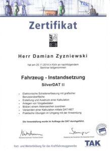 Zertifikat Instandsetzung Damian Zyzniewski