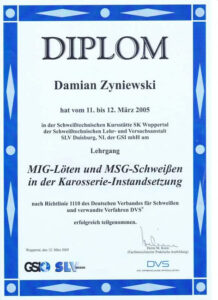 Diplom Damian Zyzniewski