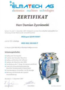 Zertifikat Schweißtechnik Damian Zyzniewski
