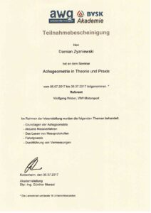 Zertifikat - Seminar Achsgeometrie