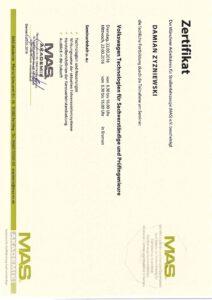 Zertifikat - Volkswagentechnologien